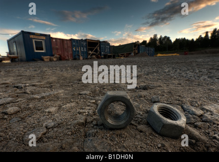 Loose nuts in construction site - Stock Image