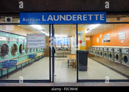 Barbican Launderette is a self-service laundrette within the Barbican estate. - Stock Image