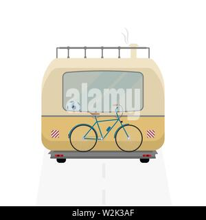 Camping bus. Back side of camping bus - Stock Image