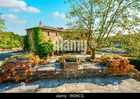 A large villa along the banks of the river Gardon in the French countryside of Southern France next to the Pont Du Gard in the Provence Region. - Stock Image