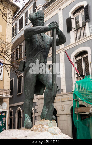 Gibraltar, Main Street, British Corps of Royal Engineers memorial, statue of 18th century soldier - Stock Image