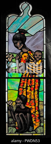 'Motherhood' window (detail) by Sarah Sutton, 2009. Church of Saint Mark. Natland, Cumbria, England, United Kingdom, Europe. - Stock Image