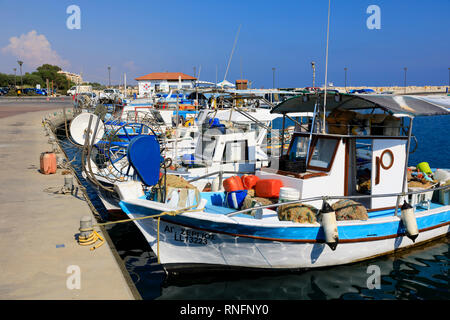 traditional Cypriot fishing boats at the quayside, Zygi, Larnaca, Cyprus October 2018 - Stock Image