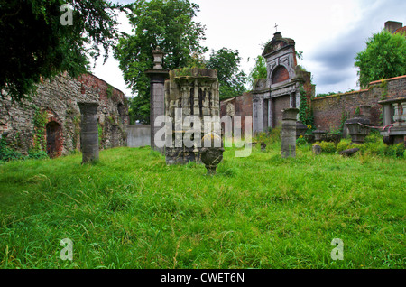The ruins of historic St-baafs abbey in Ghent, Belgium - Stock Image