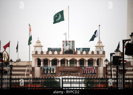 Pakistan viewed from the Indian side of the Attari-Wagah border. - Stock Image