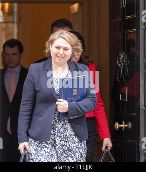 London 26th March 2019, Karen Bradley MP PC Northern Ireland Secretary, leaves a Cabinet meeting at 10 Downing Street, London Credit: Ian Davidson/Alamy Live News - Stock Image