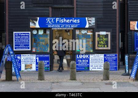 RX fisheries, fresh fish shop, fishmonger, seafood, hastings, east sussex, uk - Stock Image
