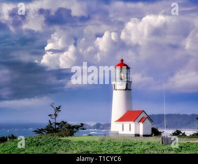 Cape Blanco Lighthouse with stormy sky. Oregon. - Stock Image