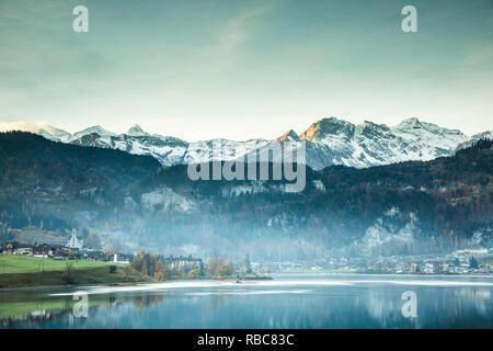 Lake Lungern, Obwalden, Switzerland - Stock Image