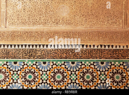 Close up detail of alabaster artwork, the Saadian Tombs, Marrakech Morocco North Africa - Stock Image