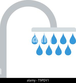 Shower Icon. Flat Color Design. Vector Illustration. - Stock Image