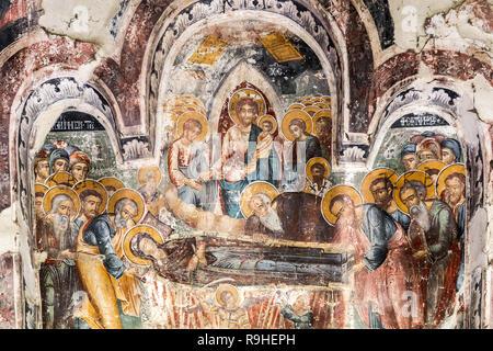 Murals Leusa church Permet Albania - Stock Image