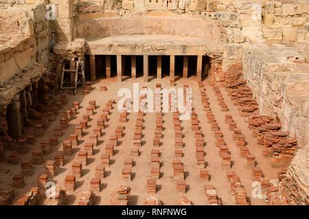 Remains of Roman underfloor heating at Curium Kouion, Episkopi, Cyprus October 2018 - Stock Image