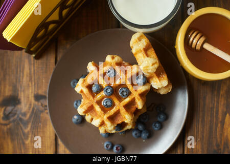 Belgian waffles seeing from the top. - Stock Image