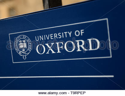 EMBARGOED TO 0001 TUESDAY MAY 21 File photo dated 20/03/14 of a sign for the University of Oxford. A Òsea changeÓ in the University of OxfordÕs admissions is expected with the launch of two schemes aimed at helping disadvantaged students. - Stock Image