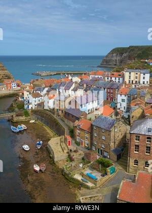 A view across Staithes in North Yorkshire. - Stock Image