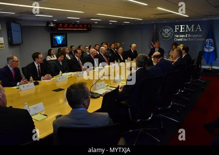 U.S President Donald Trump, Vice President Mike Pence, First Lady Melania Trump and members of the cabinet attend the annual hurricane season briefing at FEMA Headquarters June 6, 2018 in Washington, DC. - Stock Image