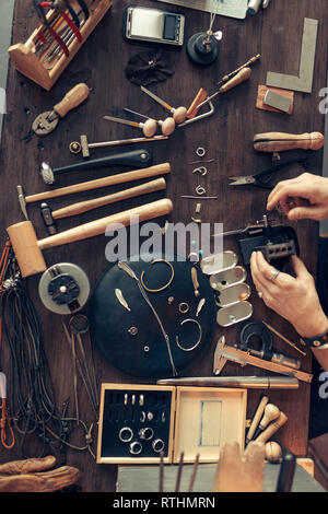 working desk of goldsmith, top view shop - Stock Image