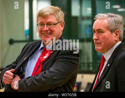 Martin Whitflied, Labour MP & Iain Gray, Labour MSP at election count, Haddington & Lammermuir council by-election, East Lothian May 2019, Scotland, U - Stock Image