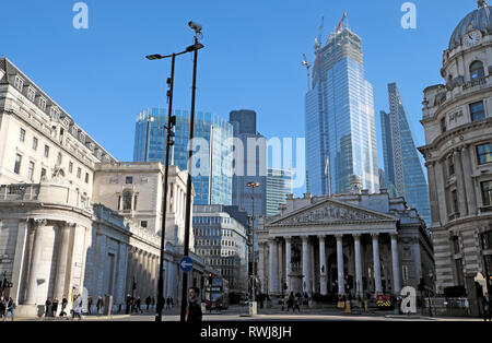 22 Bishopsgate building under construction looming above the Royal Exchange and the Bank of England in the City of London UK Europe  KATHY DEWITT - Stock Image