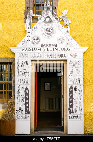 Old doorway entrance to Museum of Edinburgh, Royal Mile, Edinburgh, Scotland, UK - Stock Image