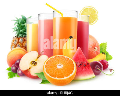 Isolated juices. Glasses of fresh juice and pile of fruits and berries isolated on white background with clipping path - Stock Image