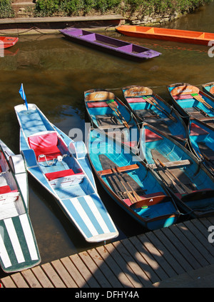 Pedal Boats and Rowing Boats on the River Cherwell from Magdalen Bridge, High Street, Oxford, Oxfordshire, UK. - Stock Image