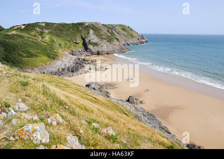 Pobbles Bay on the east side of Three Cliffs Bay on Gower Peninsular in Wales - Stock Image