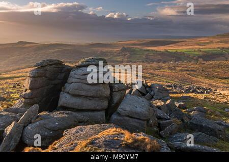 King's Tor near Merrivale on a sunny winter afternoon, Dartmoor, Devon, England. Winter (November) 2017. - Stock Image