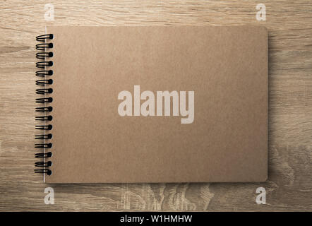 Top view image of open notebook with blank pages - Stock Image