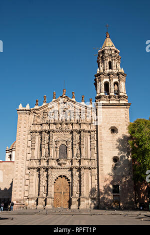 The Baroque façade of the San Agustin Church in the state capital of San Luis Potosi, Mexico. Also known as the Templo de San Agustin, the church was constructed in the 1800's following the attached convent which was completed in 1615. - Stock Image