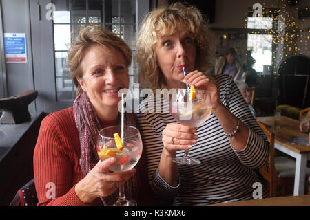 Women drinking a large gin and tonic with paper straws UK - Stock Image