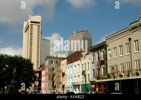 New Orleans LA Louisiana French Quarter and downtown skyline - Stock Image