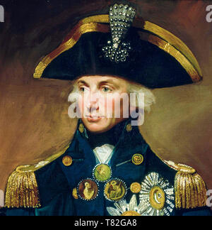 Vice Admiral Sir Horatio Nelson, Lord Nelson, portrait painting (detail), 1799 - Stock Image