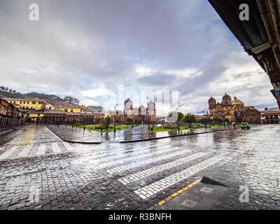 Rainy day in the Plaza de Armas square in Cusco, Peru - Stock Image