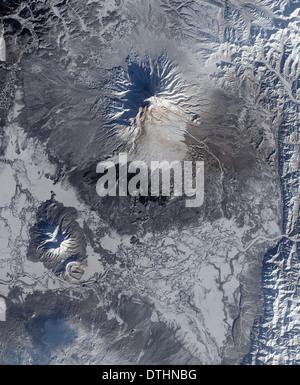Shiveluch volcano Kamchatka Peninsula Russia - Stock Image