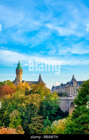 The BCEE Clock Tower of Spuerkees Bank in Luxembourg City, Luxembourg - Stock Image
