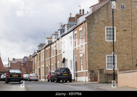 Houses on Percy Street, Tynemouth, Tyne and Wear, historically part of the country of Northumberland. The terraced - Stock Image