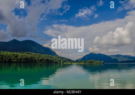 Walchensee or Lake Walchen is a beautiful lake nestled in between the peaks of the Heimgarten and the Herzogstand - Stock Image