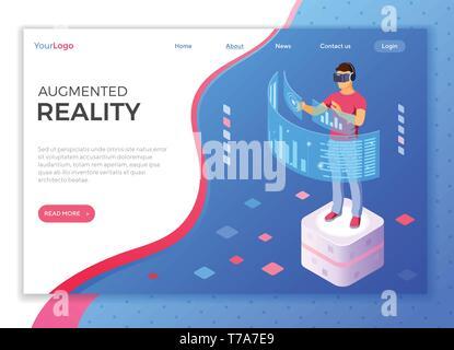 Isometric Virtual Augmented Reality - Stock Image