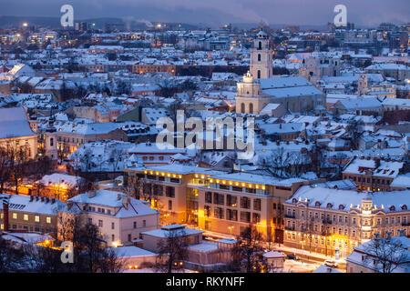 Winter dawn in Vilnius old town. - Stock Image
