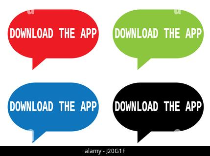 DOWNLOAD THE APP text, on rectangle speech bubble sign, in color set. - Stock Image