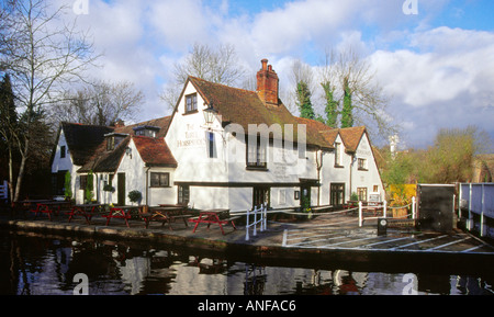 The Three Horsehoes Public House at Winkwell, Hertfordshire - Stock Image