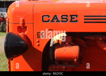 Tractor- 1948 Case model LA logo and engine. Canfield Fair. Mahoning County Fair. Canfield, Youngstown, Ohio, USA. - Stock Image