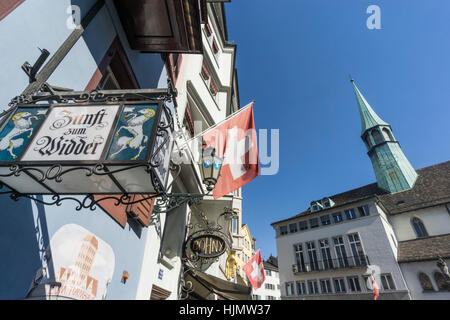 Augustinergasse, Agustiner alley, Zunft zum Widder sign, guild,  swiss national flag,  Zurich, Switzerland - Stock Image