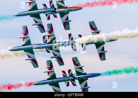 Frecce tricolori national Italian aerobatic group dangerous risky crossing during Airpower Zeltweg 2016 airshow - Stock Image