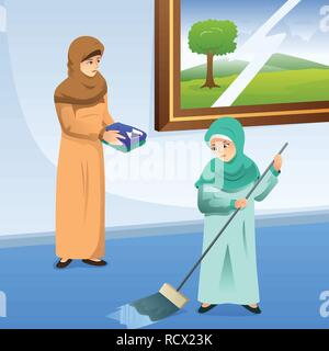 A vector illustration of Muslim Mother and Daughter Doing Chores at Home - Stock Image
