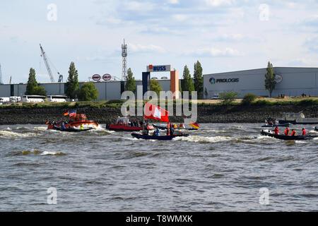 Boat Race, Hafengeburtstag St. Pauli-Landungsbrücken - Stock Image