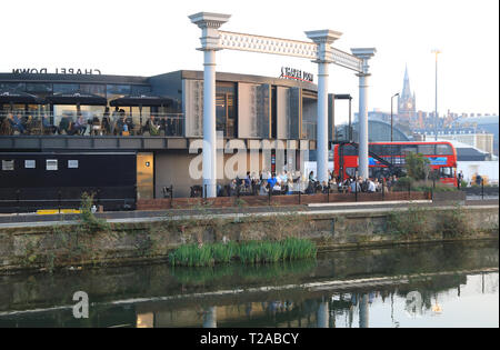 Chapel Down Gin Works & Restaurant on Regents Canal, behind Kings Cross & St Pancras International in London, UK - Stock Image