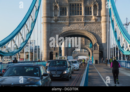 Traffic on Tower Bridge in the early morning London - Stock Image